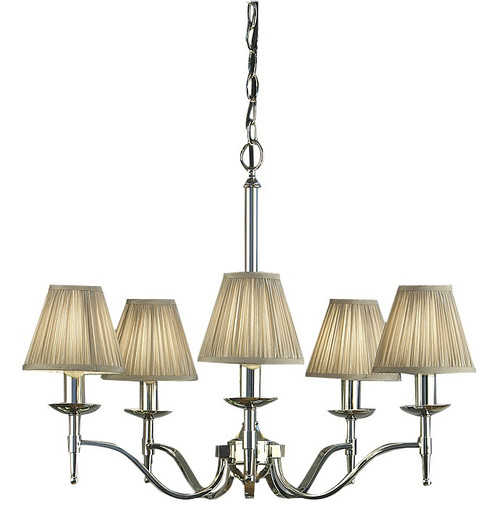 Stanford 5 Light Polished Nickel Chandelier by Viore Design