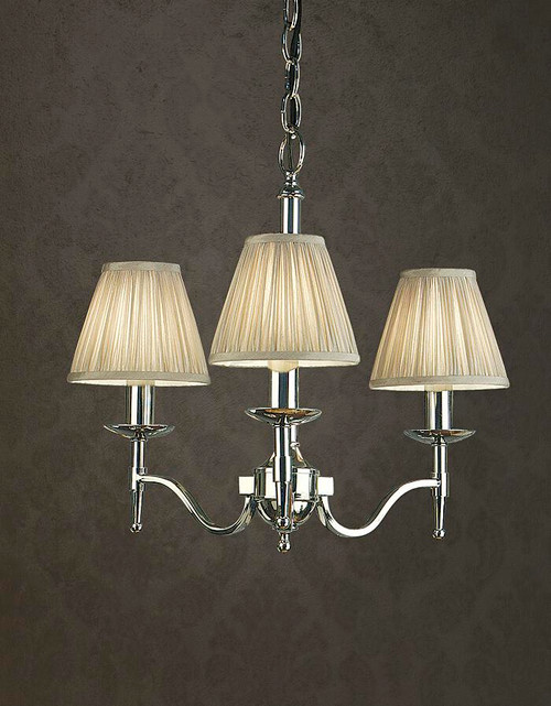 Stanford Grey 3 Light Polished Nickel Chandelier