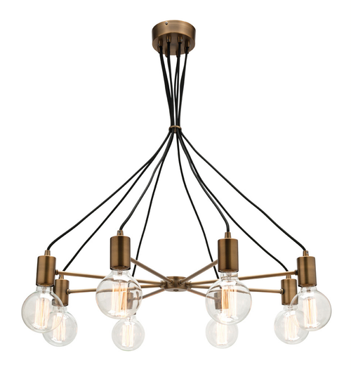 Canyon 8 Light Aged Brass Pendant Light