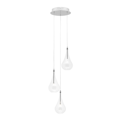 Raindrop 3 Light Glass Pendant Light