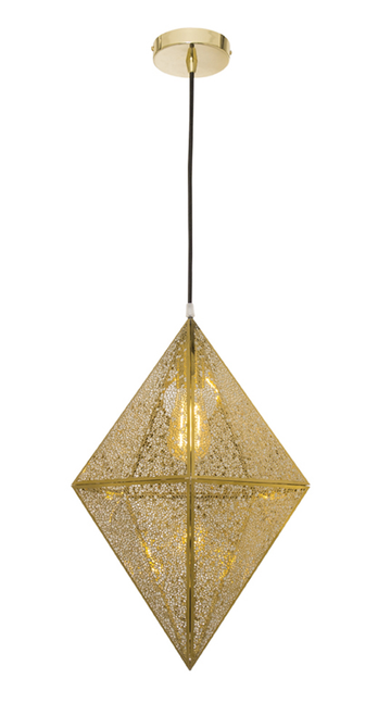 Polished Brass Diamond Pendant Light