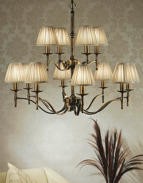 Stanford 12 Light Brass Chandelier With Shimmer Grey Shades