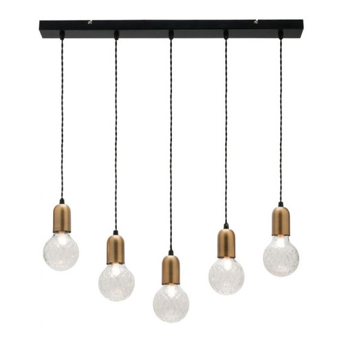 Sicily 5 Light Brass Bar LED Pendant