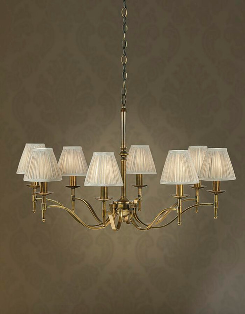 Stanford 8 Light Brass Chandelier With Grey Shades
