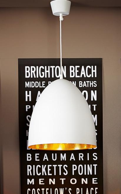 Egg White Label Brass Pendant Light