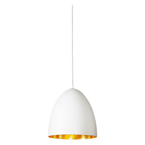 Egg White Label Brass Pendant Light