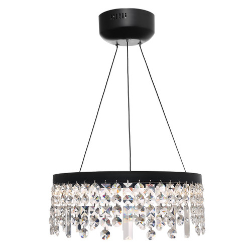 Majestic Crystal Drops Pendant Light Black - 40cm
