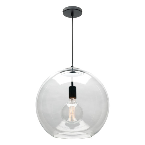 Orpheus 1 Light Clear Glass Pendant Light Black - Large