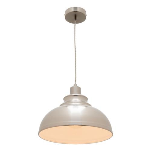 Risto Metal Dome Pendant Light - Satin Chrome
