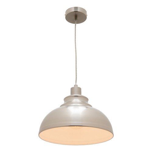 Risto Metal Dome Pendant Light - Satin Chrome