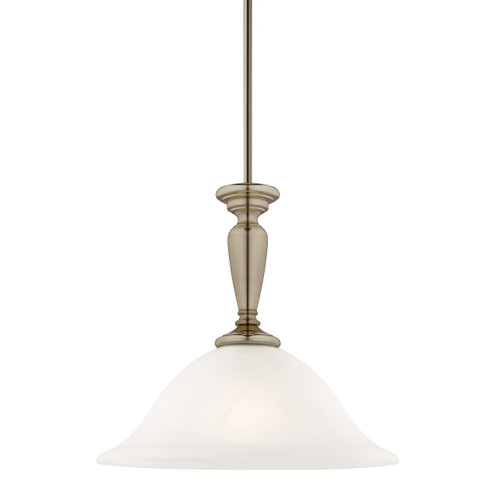 Stepney 1 Light White Marble Glass Pendant Light - Antique Brass