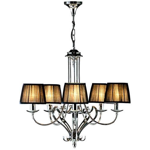 Zoya 5 Light Nickel Chandelier Black By Viore Design