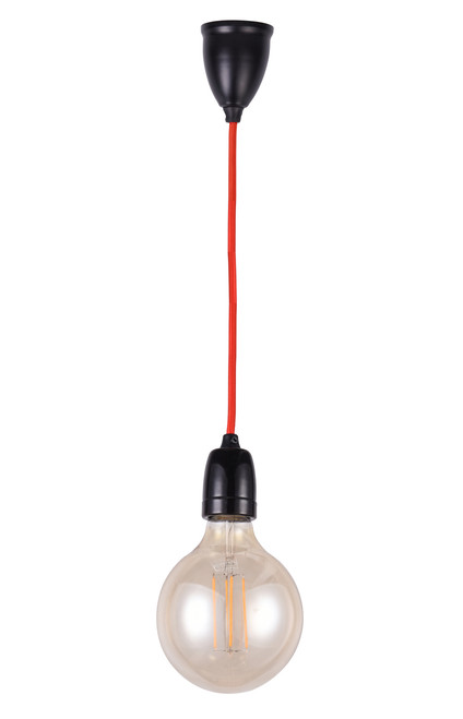 Kendyl E27 Pendant Light Black with Red Cable