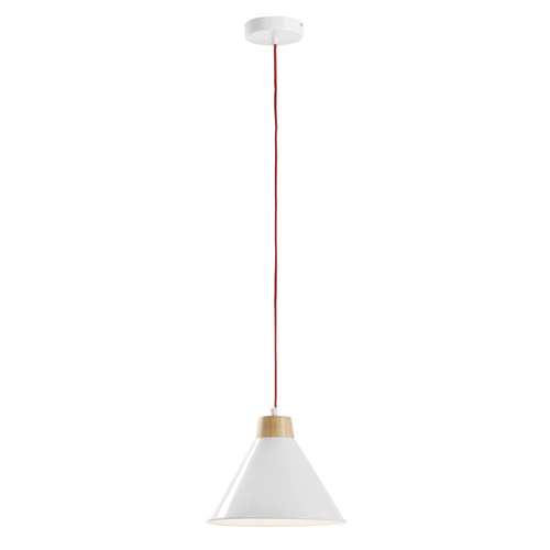 Wide Cone Wood Pendant - White
