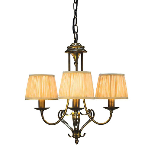 Zoya 3 Light Brass Chandelier