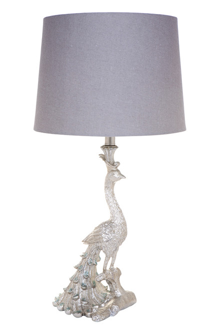 Peacock Table Lamp - Silver with grey linen shade