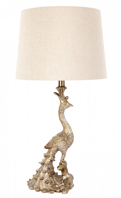 Peacock Table Lamp - Antique Gold with natural linen shade
