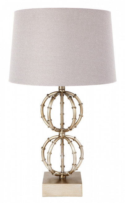 Lela Table Lamp - Antique Silver with Soft Grey Shade