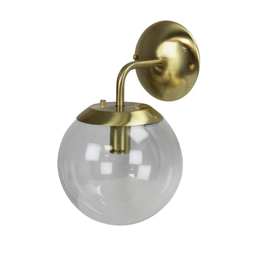 Newton Clear Glass Wall Light - Brass