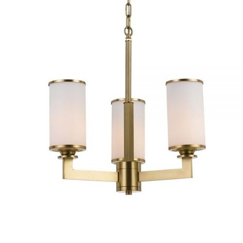 Brass Opal Candle 3 Light Pendant Chandelier