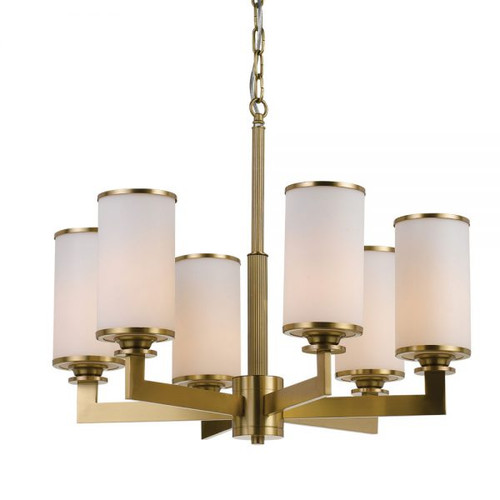 Brass Opal Candle 6 Light Pendant Chandelier