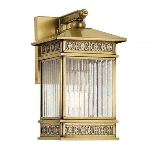 Avera Antique Brass Glass Exterior Wall Light - Large