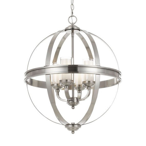 Jupiter 4 Light Orb Pendant Chandelier - Nickel