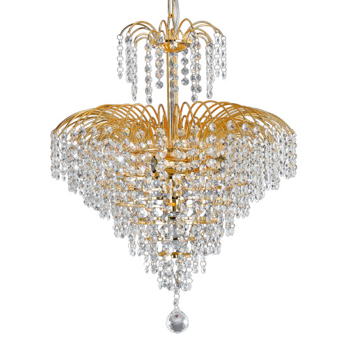 Cascade 4 Light Crystal Strands Chandelier - Gold
