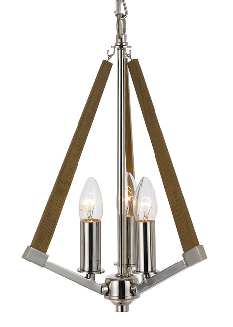 Chrome Ash 3 Light Timber Pendant Light