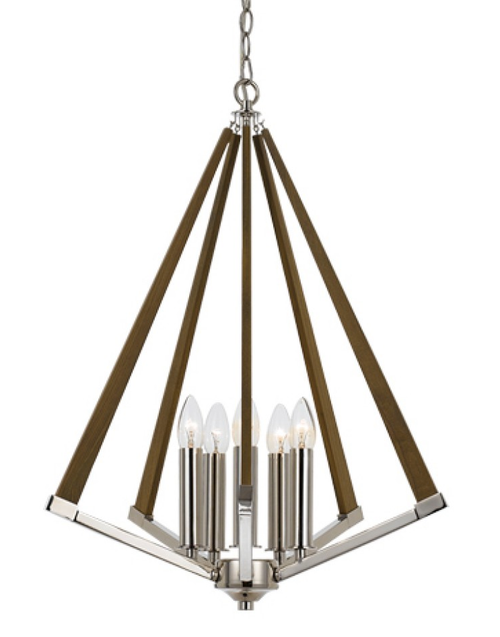 Chrome Ash 5 Light Timber Pendant Light