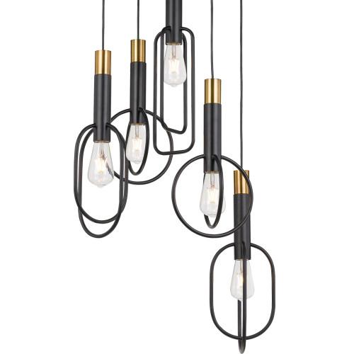 Black Gold Abstract 5 Light Pendant