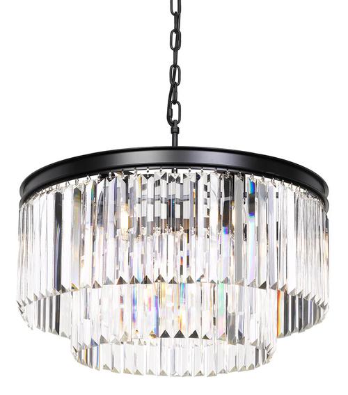 Saint 9 Light Round Crystal Two Tier Pendant Light