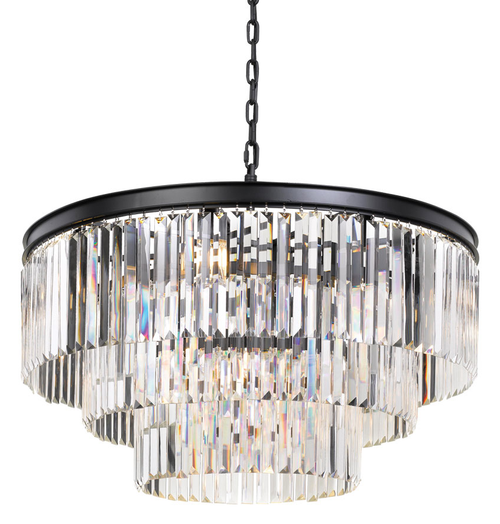 Saint 16 Light Round Crystal Three Tier Pendant Light