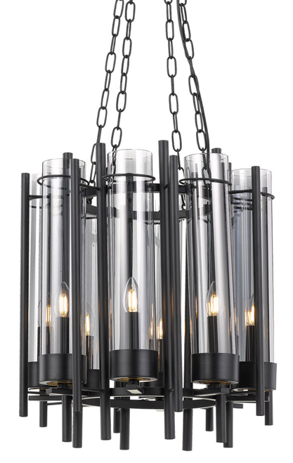 Merisi 8 Light Round Black Pendant Light