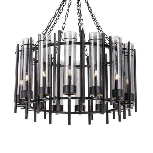 Merisi 14 Light Round Black Pendant Light