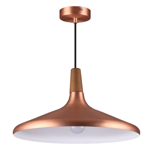 Large, Copprer - Callisto Timber Top Pendant Light