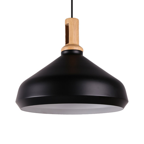 Onion Wooden Top Pendant Light  - Black