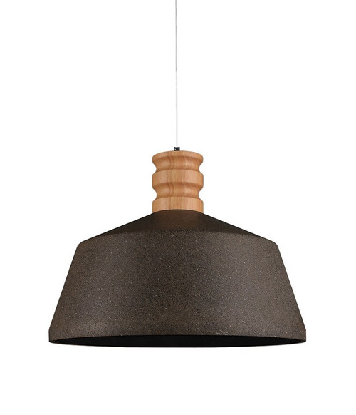 Wide Black Sandstone Concrete Wood Pendant Light