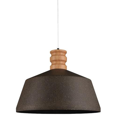 Wide Black Sandstone Concrete Wood Pendant Light