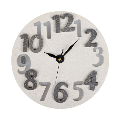 Concrete Clock Wall Light - White
