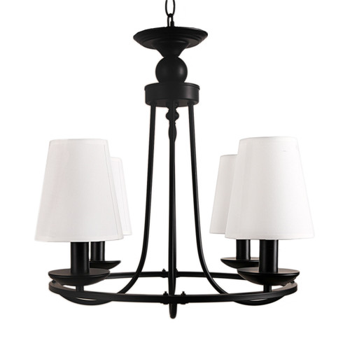 Country 4 Light Black White Chandelier