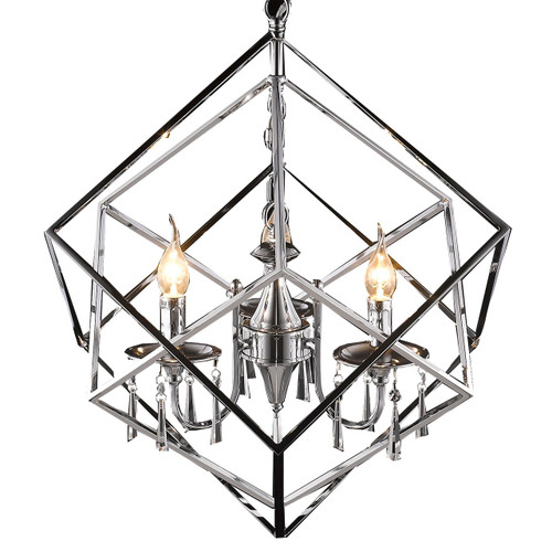 Cubic Crystal Chrome 3 Light Chandelier