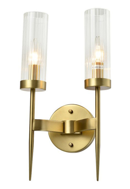Seattle 2 Light Tubular Wall Sconce Brass