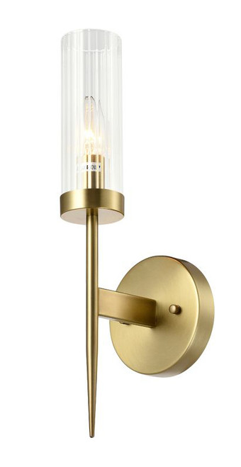 Seattle 1 Light Tubular Wall Sconce Brass Switched On