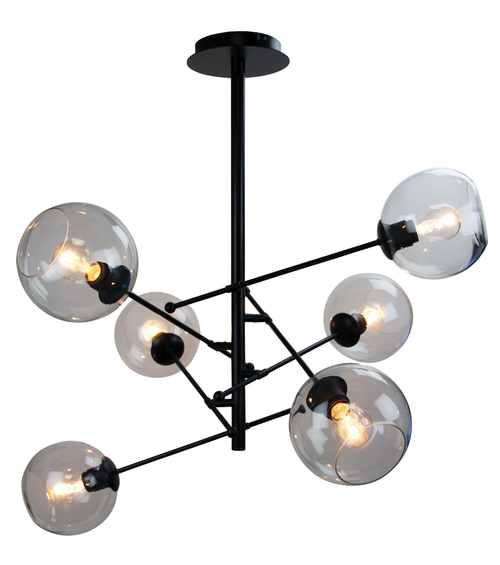 Ripley 6 Light Black Satellite Pendant Light Switched On