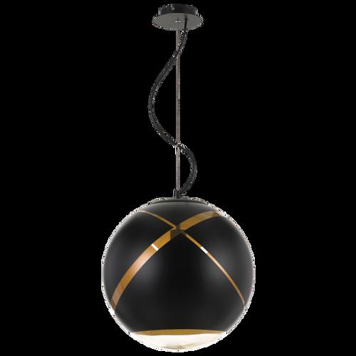 Matrix Black Gold Ball Pendant Light with Canopy