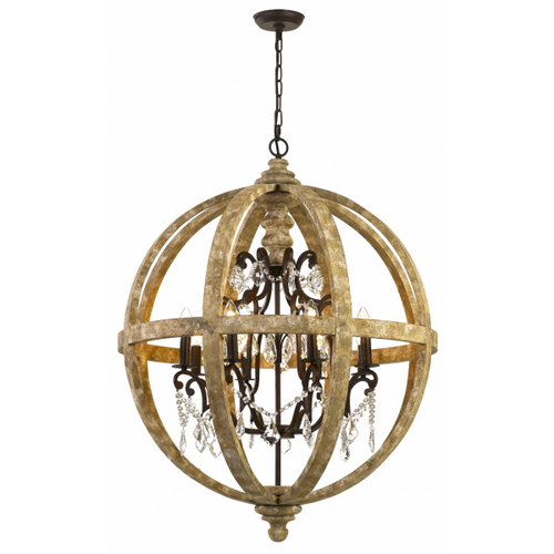 Florin 8 Light Iron Orb Vintage Pendant Light