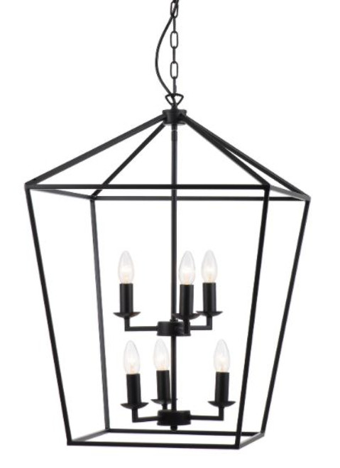 York 6 Light Candelabra Lantern Pendant Light