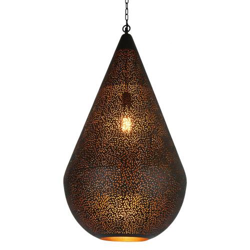 Akesh Black Perforated Teadrop Pendant