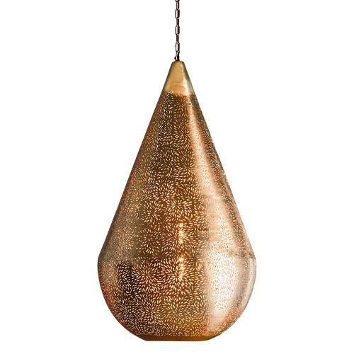 Akesh Brass Perforated Teadrop Pendant